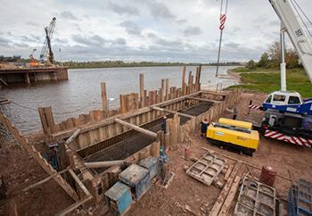 Шпунтовые работы при возведении мостов